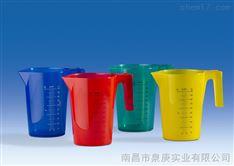 进口彩色塑料带把刻度烧杯VITLAB德国进口4色PP可堆叠烧杯