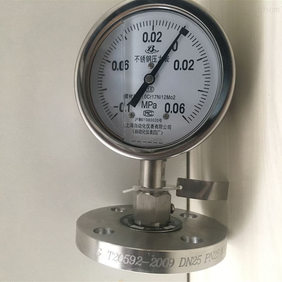 Y-100ZMF (B)315不锈钢隔膜压力表
