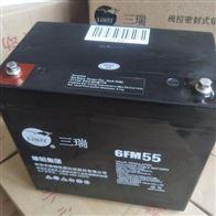 12V55AH三瑞蓄电池6FM55批发零售价格