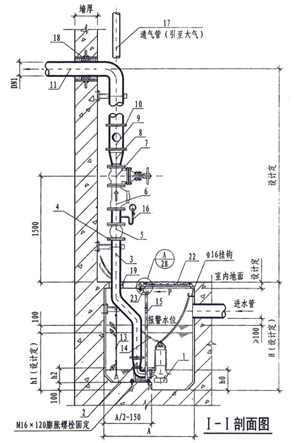 wq潜水排污泵自耦式安装示意图
