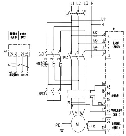 ard2f电机保护器自耦降压起动电气图