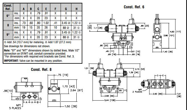 asco两位五通电磁阀安装方式