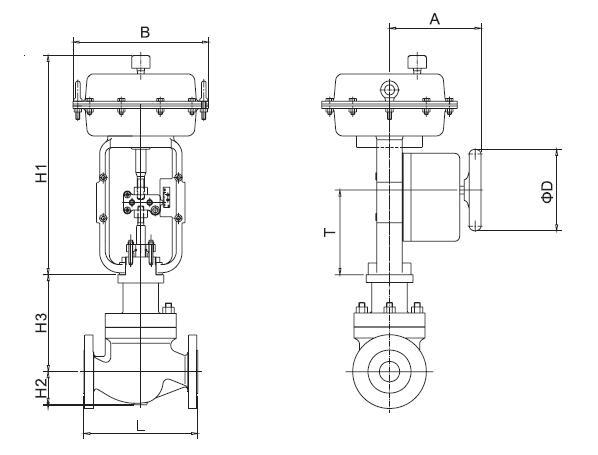 气动调节阀尺寸图片