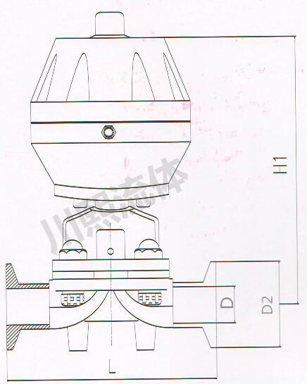 盖米气动隔膜调节阀尺寸图